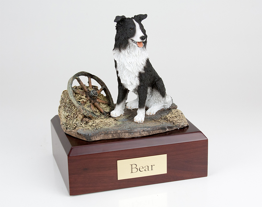 Border Collie, Sitting - Figurine Urn