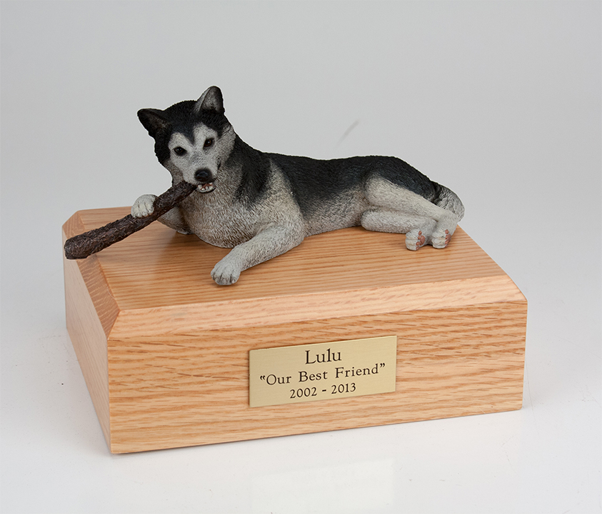 Dog, Husky, Black/White - Figurine Urn