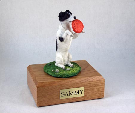 Dog, Jack Russell Terrier, Black & White, Frisbee - Figurine Urn