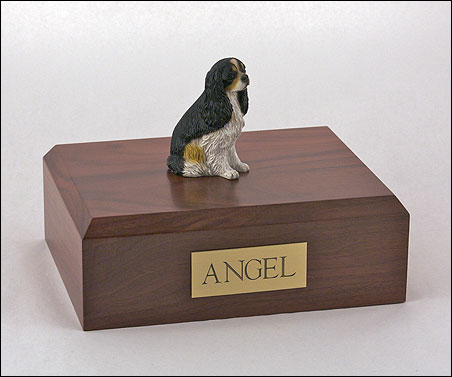 Dog, Cavalier, Tri-Color - Figurine Urn