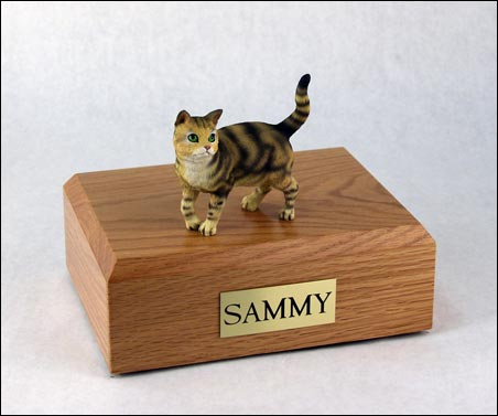 Cat, Tabby, Brown, Shorthair Standing - Figurine Urn