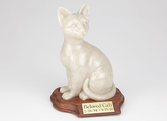 Faithful Feline Urn (With Base) - Sitting