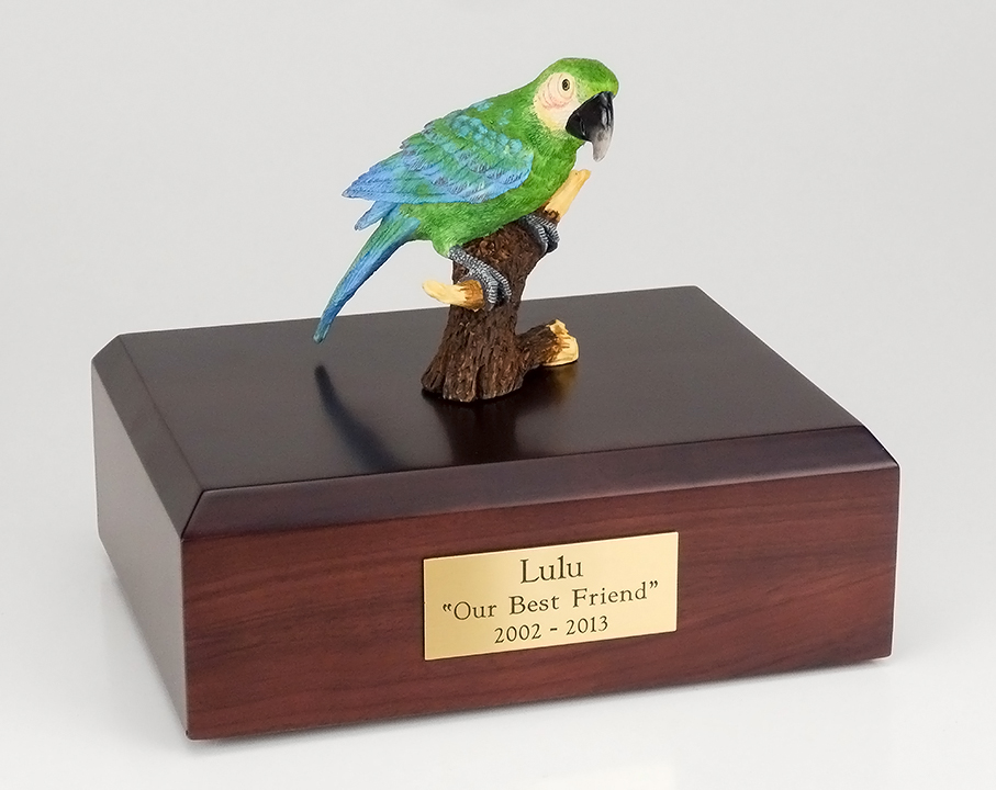 Birds, Green Parrot - Figurine Urn