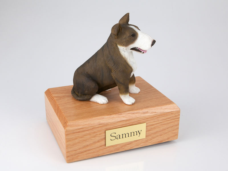 Dog, Bull Terrier, Brindle/White - Figurine Urn