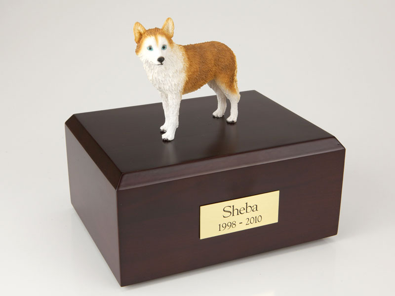 Dog, Husky, Red - blue eyes - Figurine Urn