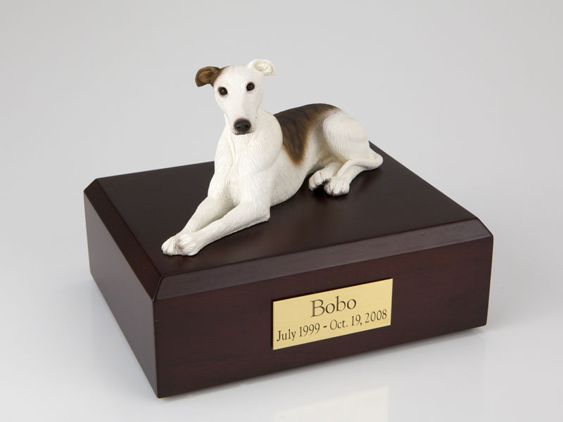 Dog, Greyhound, White/Brindle - Figurine Urn