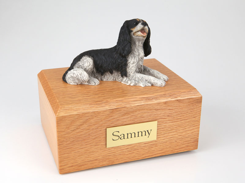 Dog, King Charles Spaniel, Black - Figurine Urn