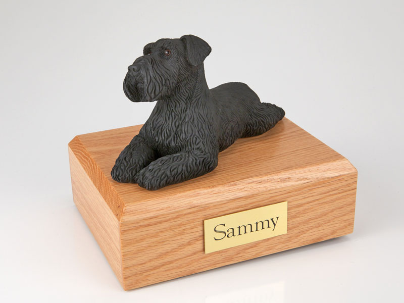 Dog, Schnauzer, Black - ears down - Figurine Urn