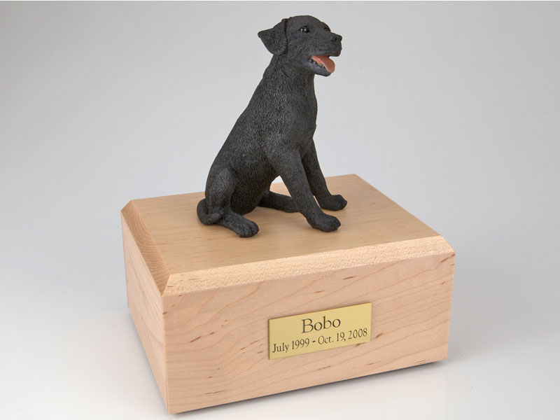 Dog, Labrador, Black Sitting - Figurine Urn