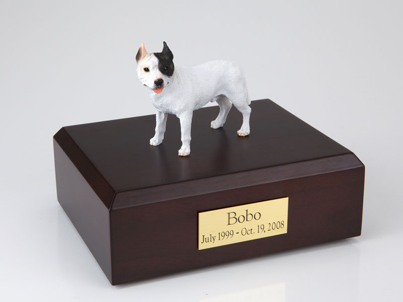 Dog, Pit Bull Terrier, White - Figurine Urn