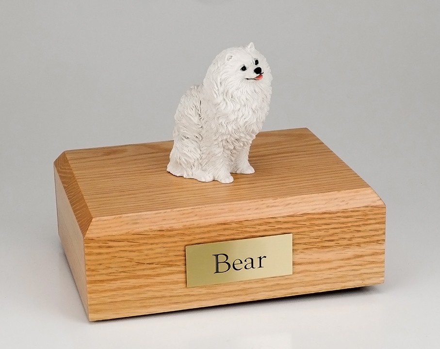 Dog, Pomeranian, White - Figurine Urn