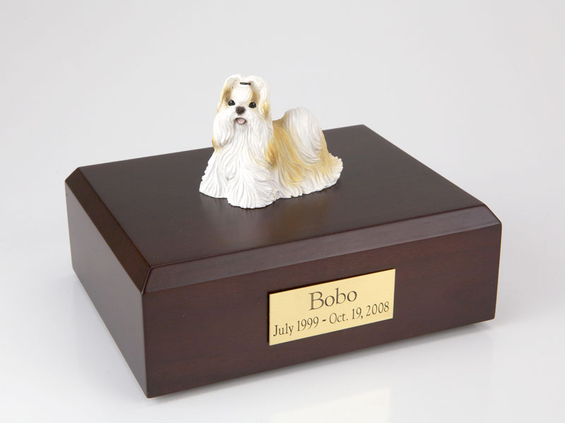 Dog, Shih Tzu, Gold/White - Figurine Urn