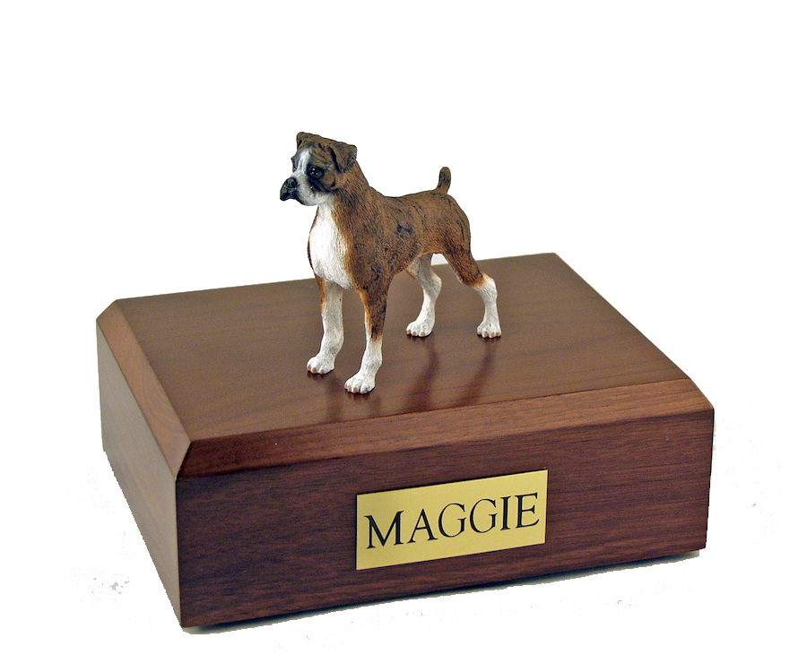 Dog, Boxer, Brindle - ears down - Figurine Urn