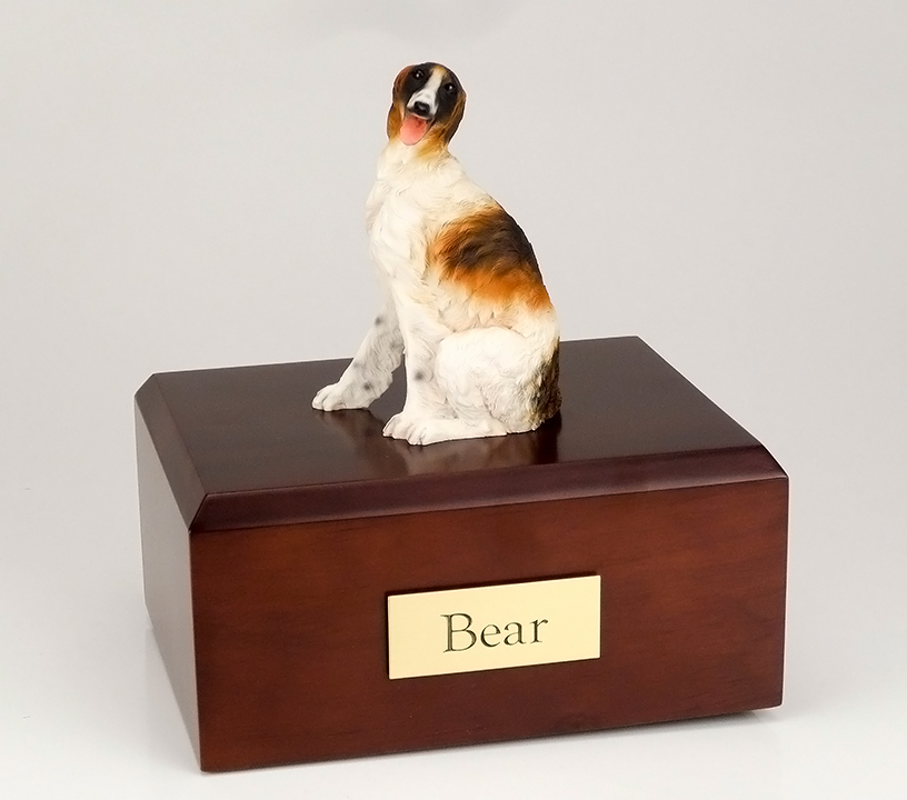 Dog, Borzoi, Sitting - Figurine Urn