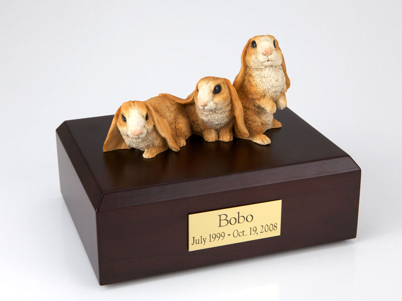 3 Brown Rabbits Side by Side - Figurine Urn