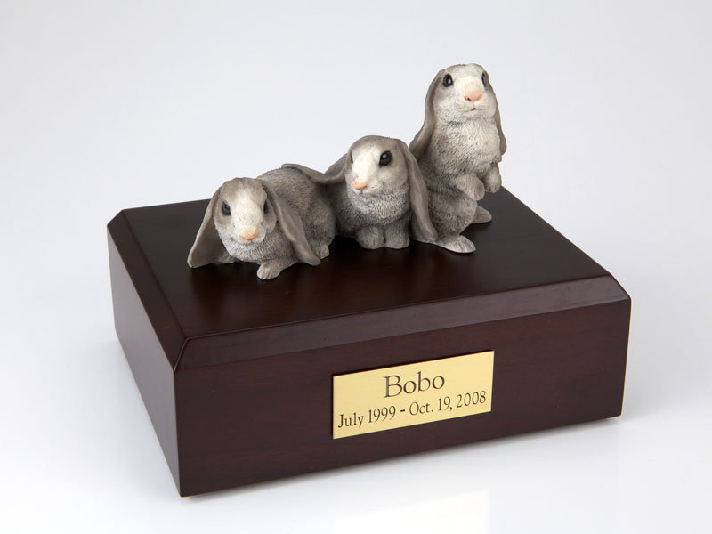 3 Gray Rabbits Side by Side - Figurine Urn