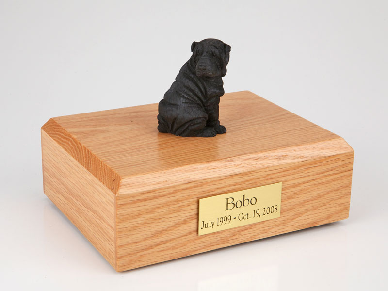Dog, Shar Pei, Black - Figurine Urn