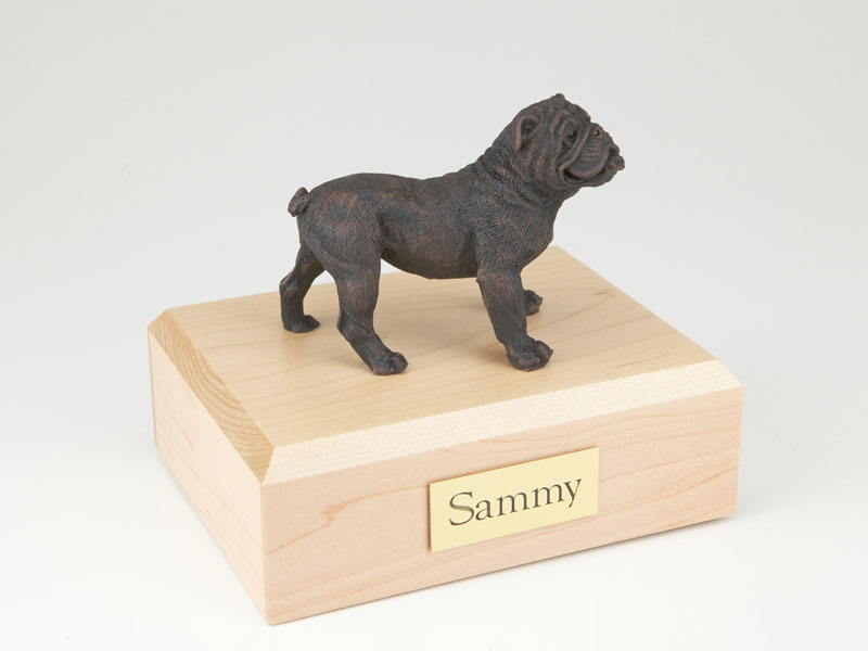 Dog, Bulldog, Bronze - Figurine Urn