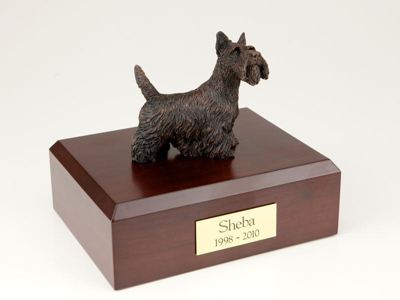 Dog, Scottish Terrier, Bronze - Figurine Urn