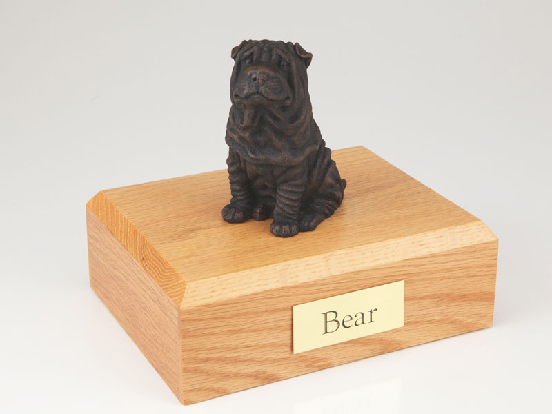 Dog, Shar Pei, Bronze - Figurine Urn