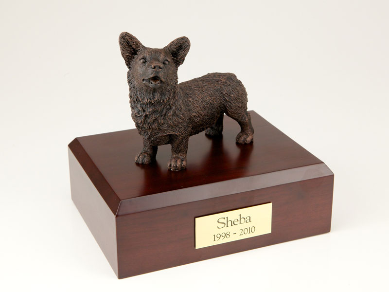 Dog, Welsh Corgi, Bronze - Figurine Urn