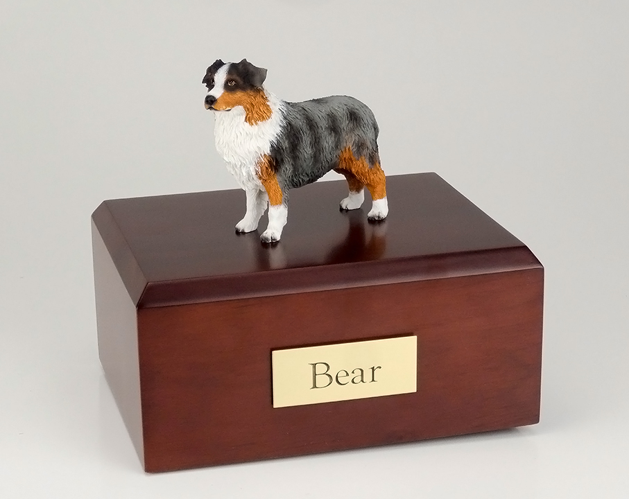 Dog, Australian Shepherd, Blue/docked - Figurine Urn