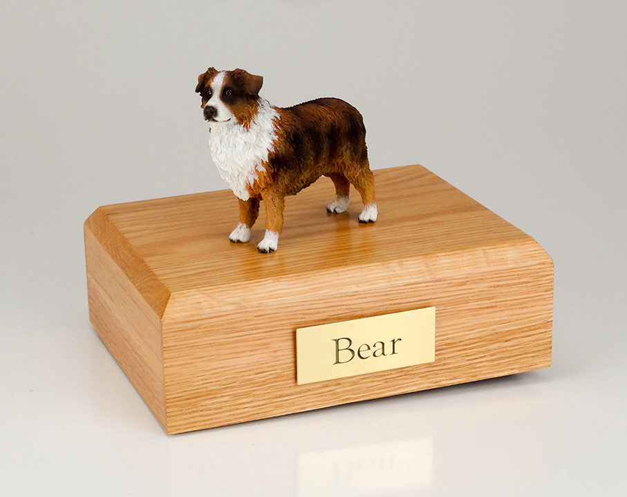Dog, Australian Shepherd, Red/Brn/W - Figurine Urn
