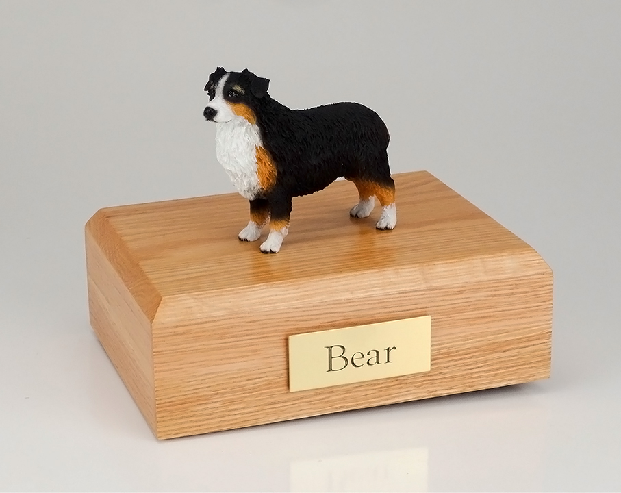 Dog, Australian Shepherd, Tri-Color - Figurine Urn
