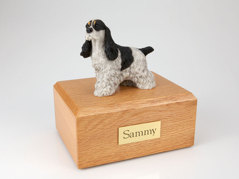 Dog, Cocker Spaniel, Spotted Black - Figurine Urn