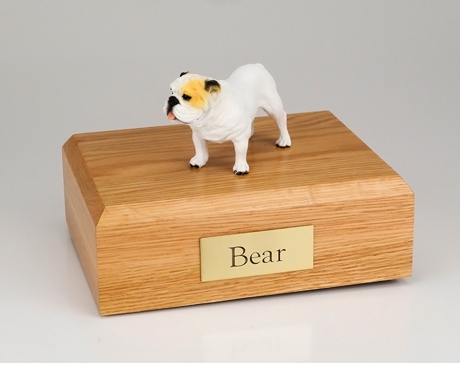 Dog, Bulldog, White - Figurine Urn
