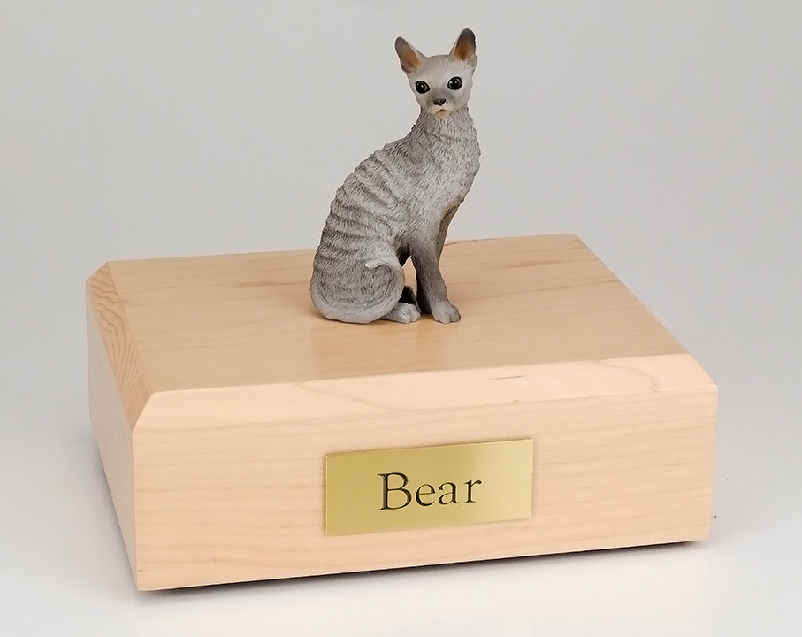 Cat, Cornish Rex, Blue - Figurine Urn
