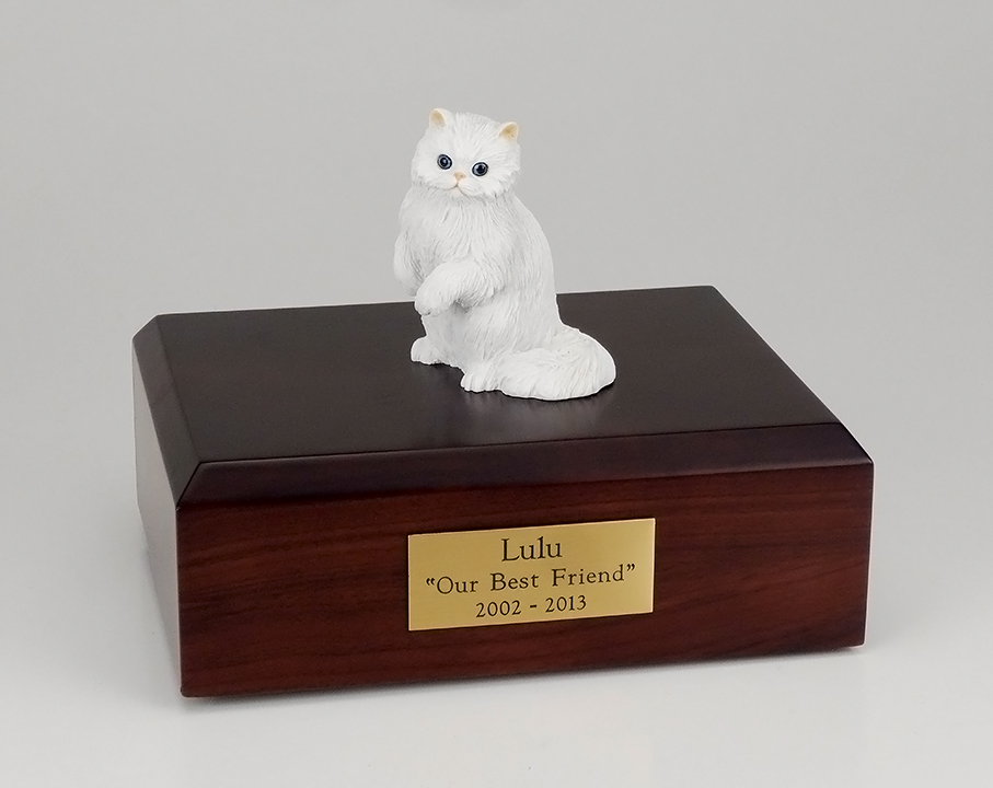 Cat, Persian, White - Figurine Urn