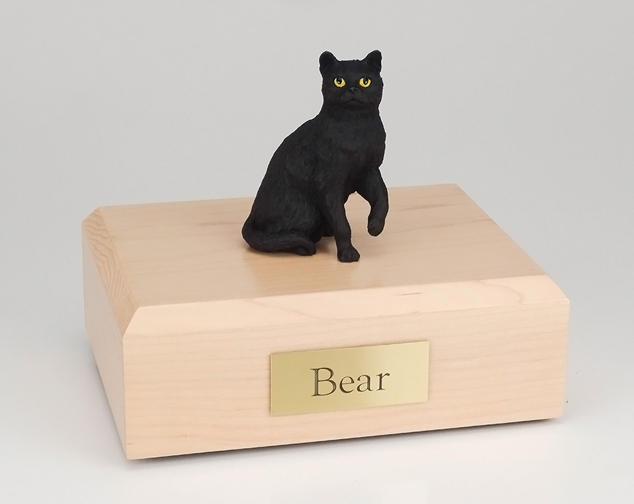 Cat, Shorthair, Black Sitting - Figurine Urn