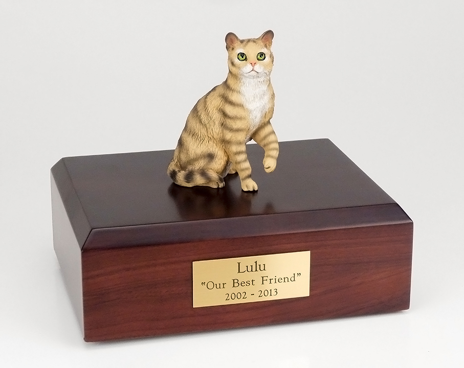 Cat, Tabby, Brown, Shorthair Sitting - Figurine Urn