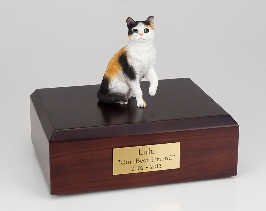 Cat, Calico, Shorthair Sitting - Figurine Urn