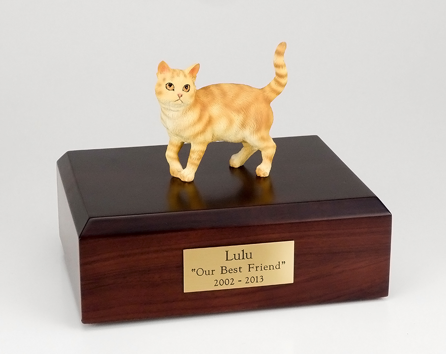 Cat, Tabby, Red, Shorthair Standing - Figurine Urn