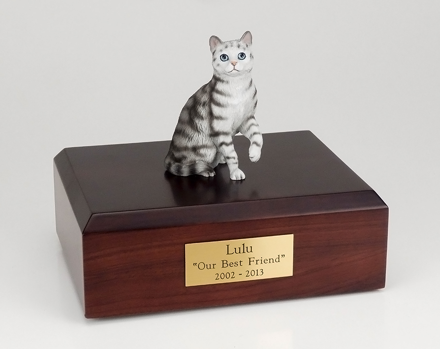 Cat, Tabby, Silver, Shorthair Sitting - Figurine Urn