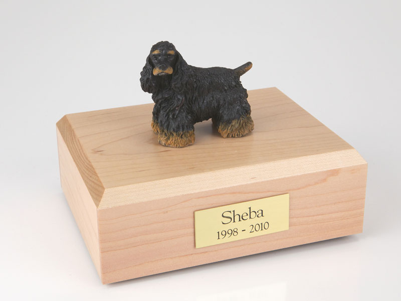Dog, Cocker, Black/Brown - Figurine Urn