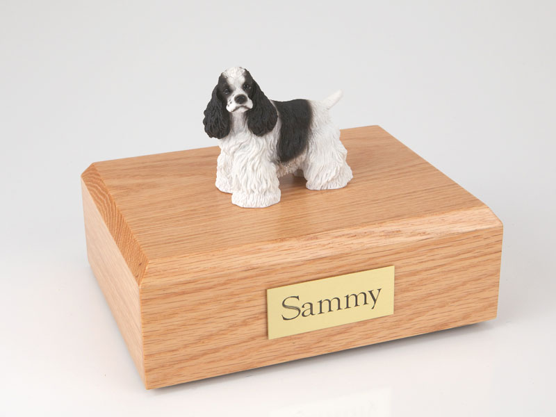 Dog, Cocker, Black/White - Figurine Urn