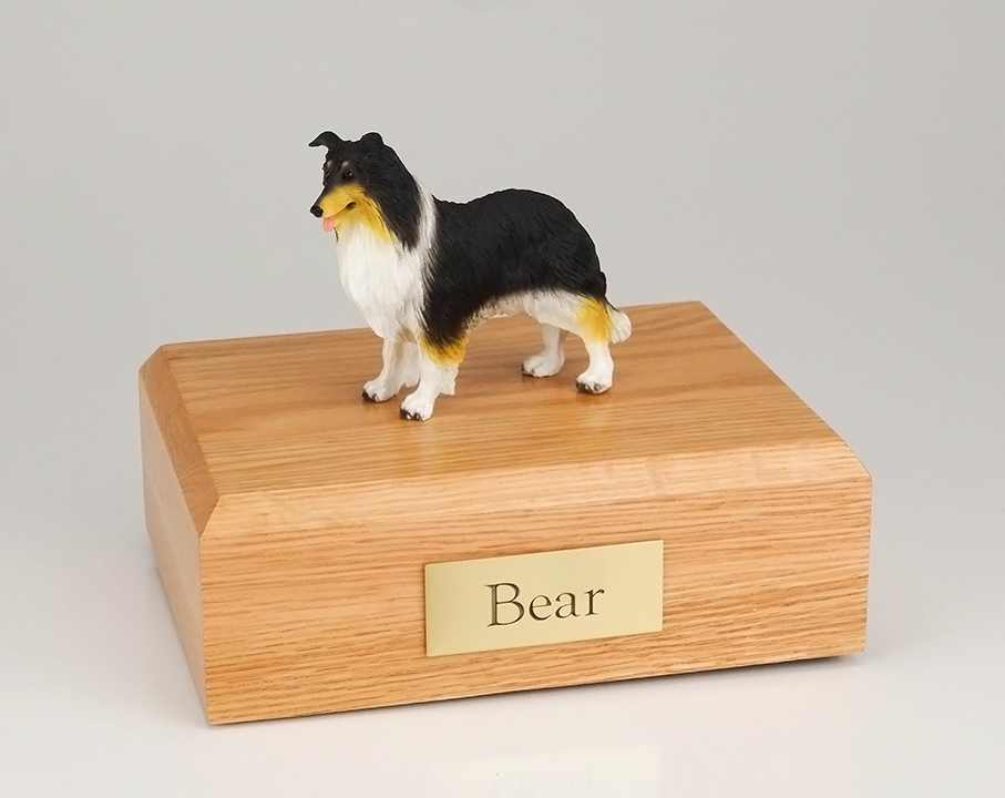 Dog, Collie, Black/White/Red - Figurine Urn