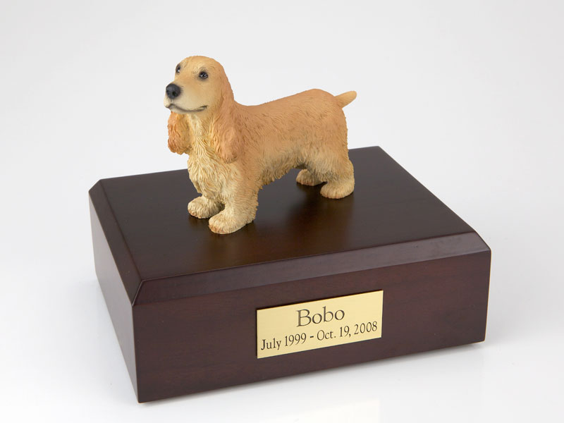 Dog, English Cocker, Blond - Figurine Urn