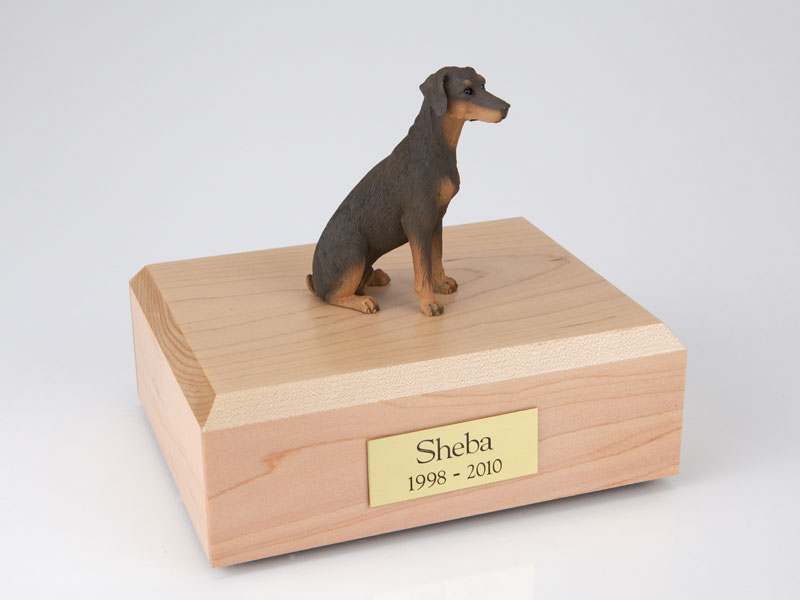 Dog, Doberman, Red - ears down - Figurine Urn