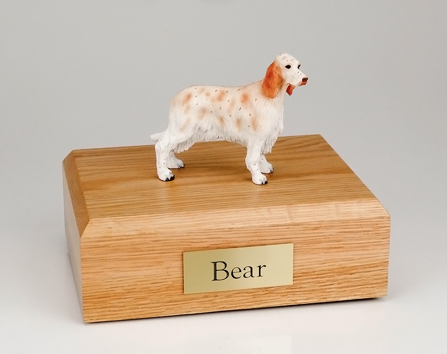 Dog, English Setter, Orange Belton - Figurine Urn