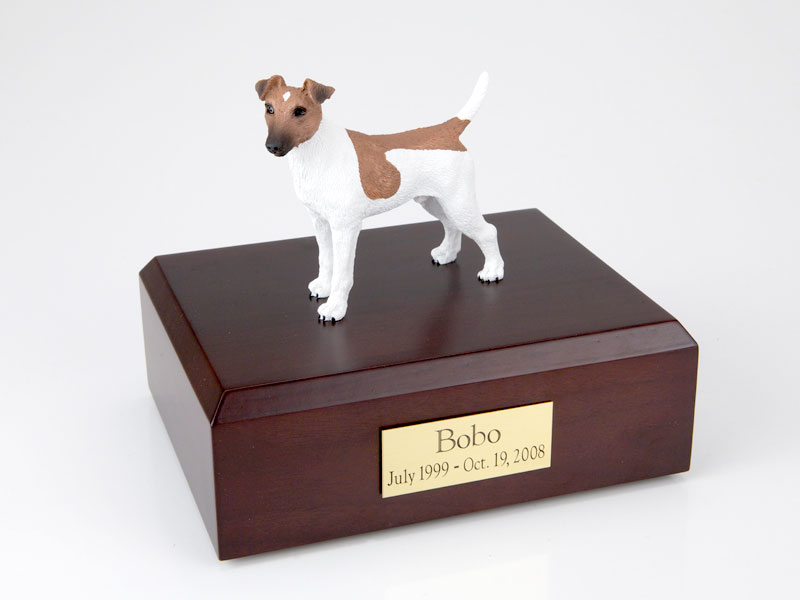 Dog, Fox Terrier, Smooth-Brown/White - Figurine Urn