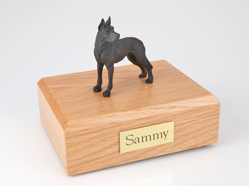 Dog, Great Dane, Black - ears up - Figurine Urn