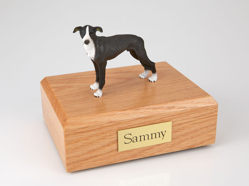 Dog, Greyhound, Black - Figurine Urn