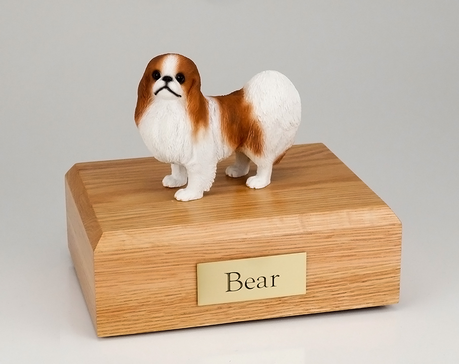 Dog, Japanese Chin, Red/White - Figurine Urn