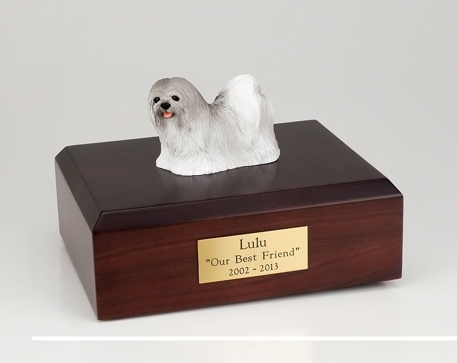 Dog, Lhasa Apso, Gray - Figurine Urn