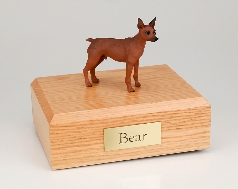 Dog, Miniature Pincher, Red/Brown - Figurine Urn