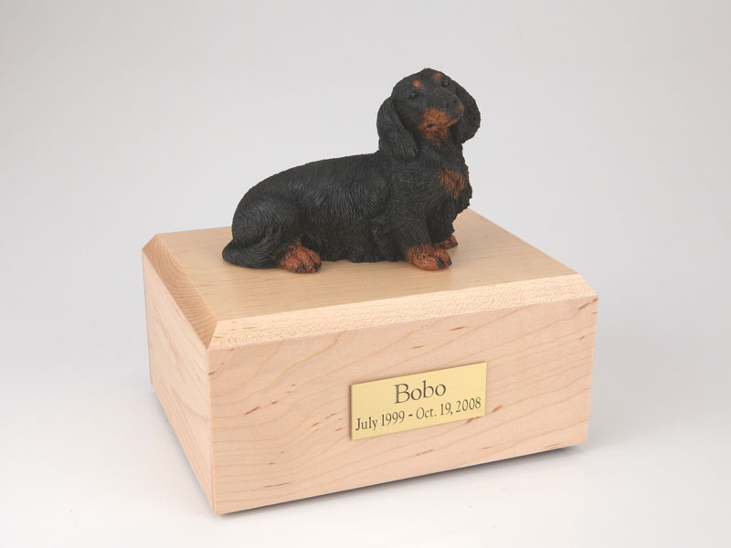 Dog, Dachshund, Long-haired Black - Figurine Urn